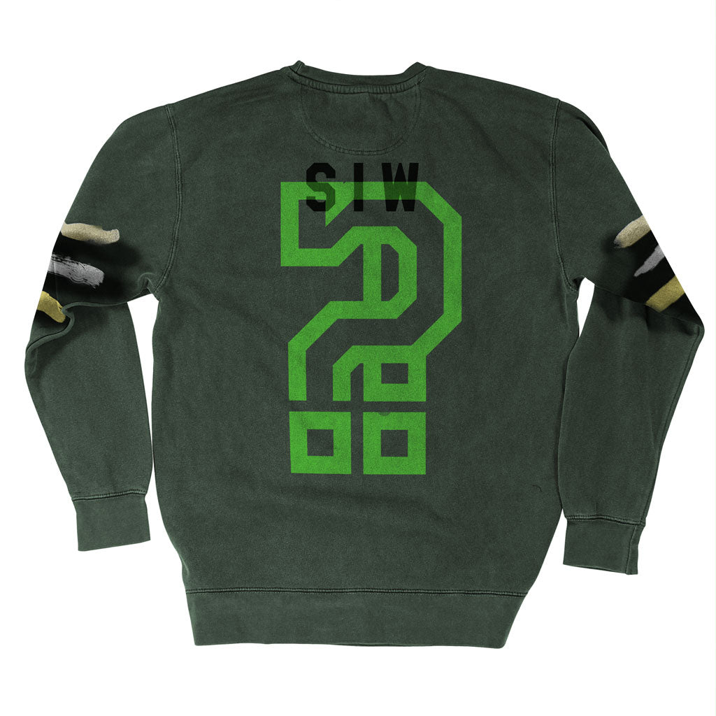 Back of Stick it Wear?! 'FITTING' Football Front Office sweatshirt in green.