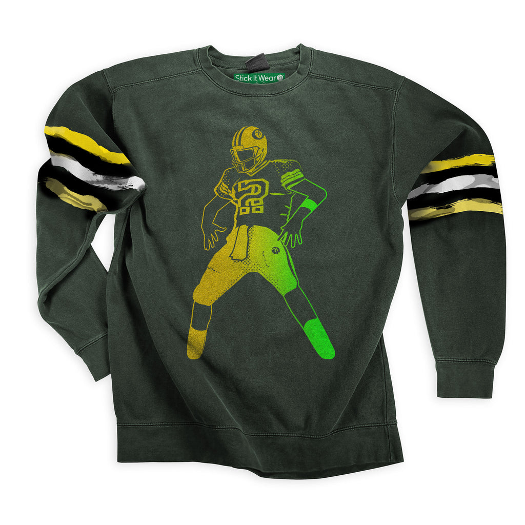 Front of Stick it Wear?! 'FITTING' Football Front Office sweatshirt in green.