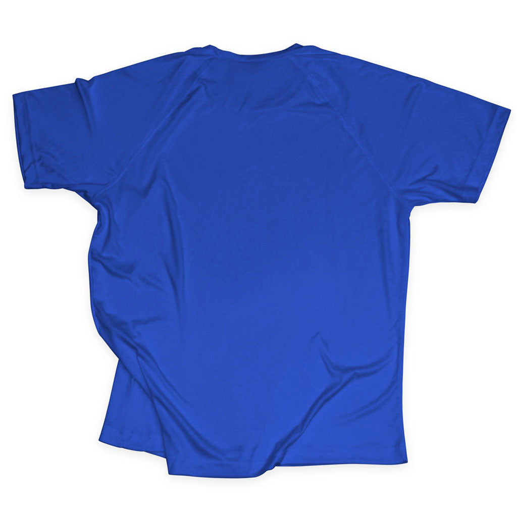 Back of Stick it Wear?! 'FLYING DMAN' Soccer Performance Crew in royal blue.