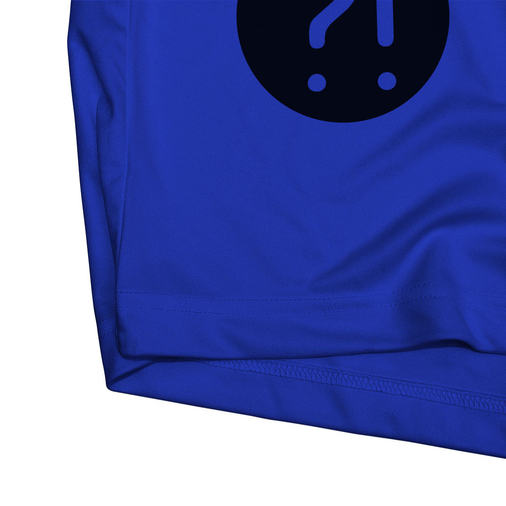 Bottom hem of Stick it Wear?! 'FLYING DMAN' Soccer Performance Crew in royal blue.