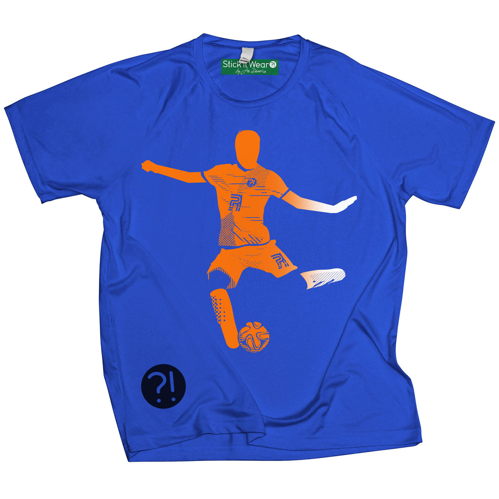 Front of Stick it Wear?! 'FLYING DMAN' Soccer Performance Crew in royal blue.