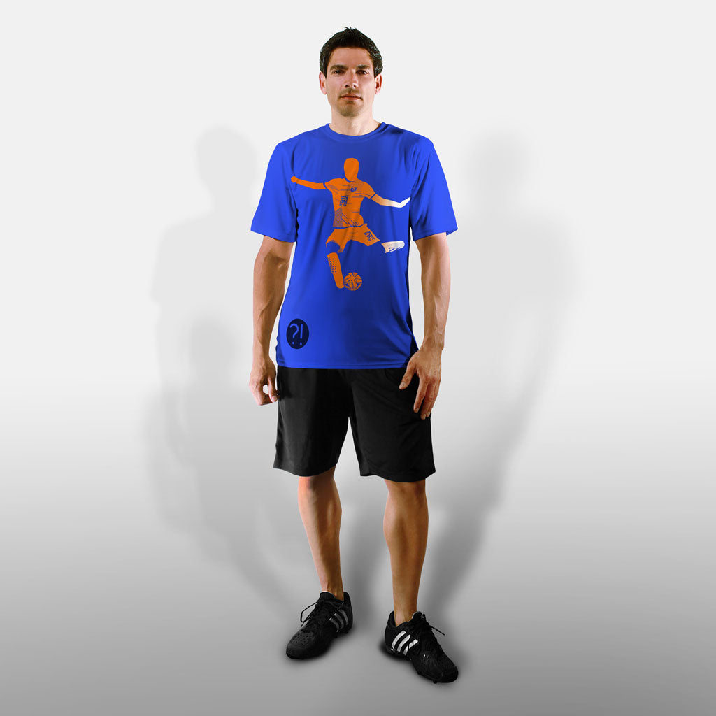 Model wearing Stick it Wear?! 'FLYING DMAN' Soccer Performance Crew in royal blue.