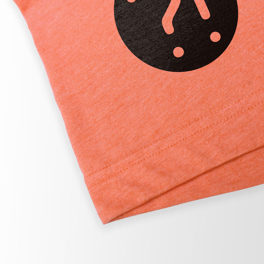 Bottom hem of Stick It Wear?! 'FLYING DMAN' Soccer V-Neck t-shirt in orange.