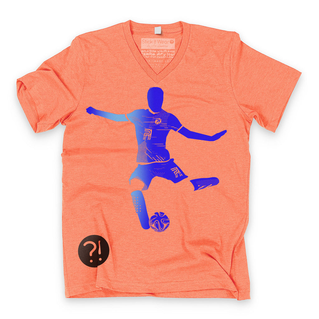 Front of Stick It Wear?! 'FLYING DMAN' Soccer V-Neck t-shirt in orange.