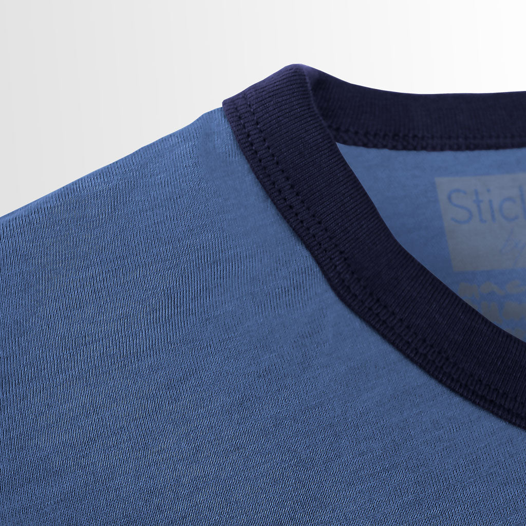 Collar of Stick it Wear?! FRANCE Soccer Vintage Ringer t-shirt in heather navy.