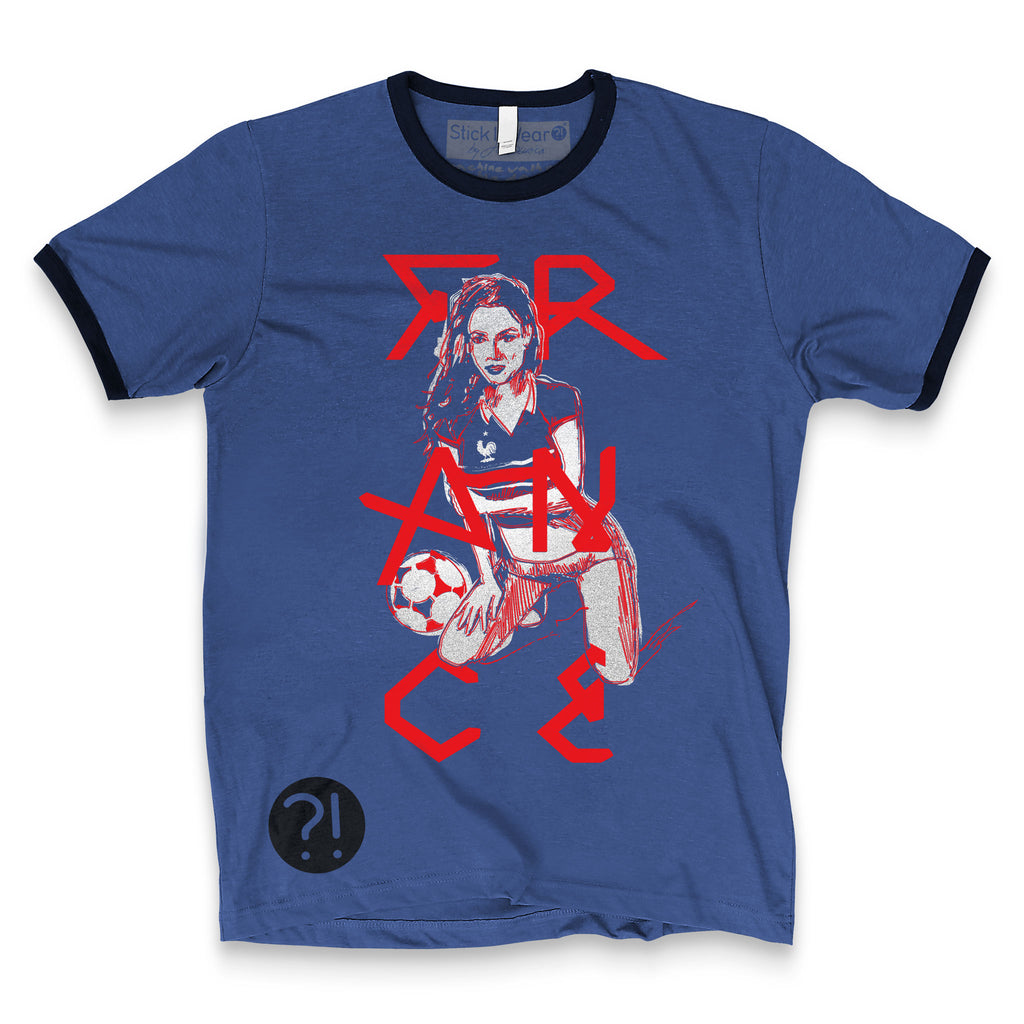 Front of Stick it Wear?! FRANCE Soccer Vintage Ringer t-shirt in heather navy.