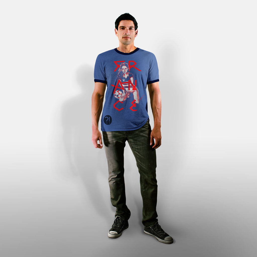 Model wearing Stick it Wear?! FRANCE Soccer Vintage Ringer t-shirt in heather navy.