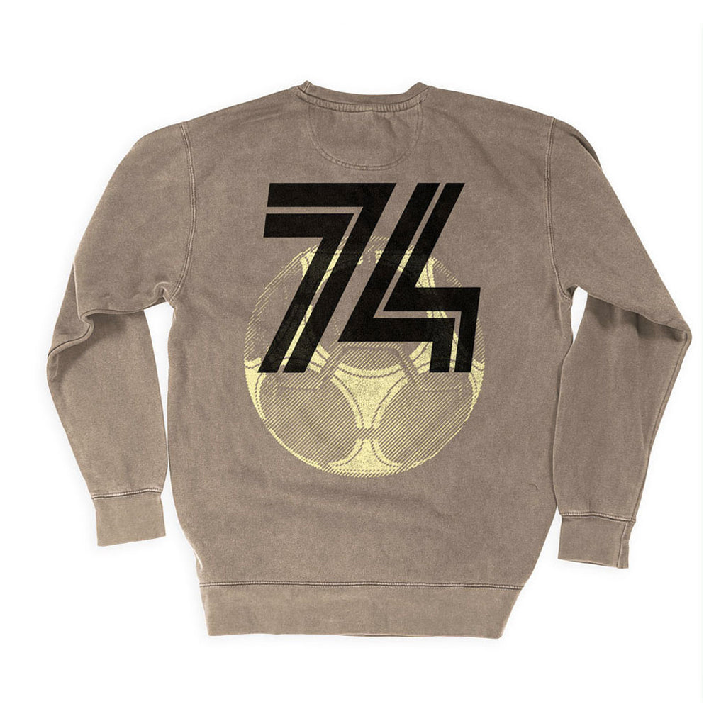 Back of Stick it Wear?! 'FUSSBALL '74' Soccer Front Office sweatshirt in beige.