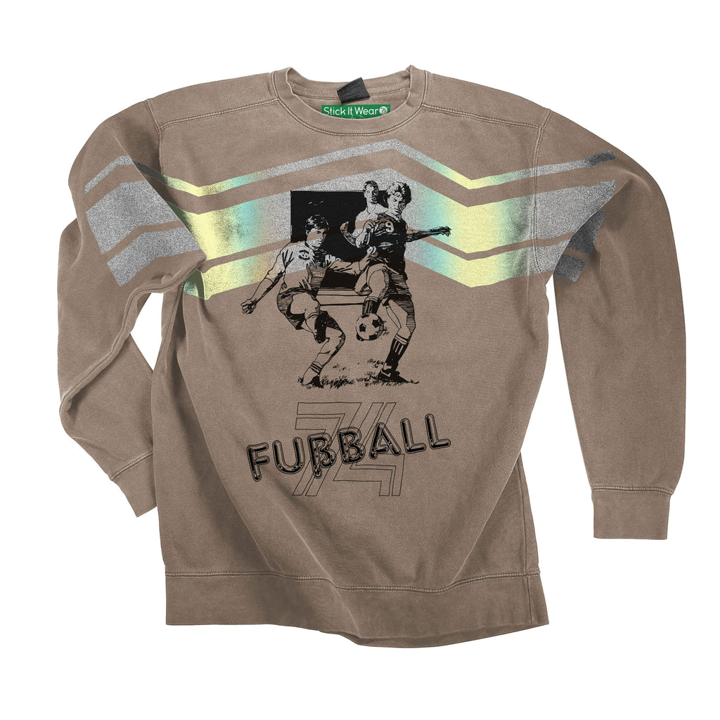 Front of Stick it Wear?! 'FUSSBALL 74' Soccer Front Office sweatshirt in beige.