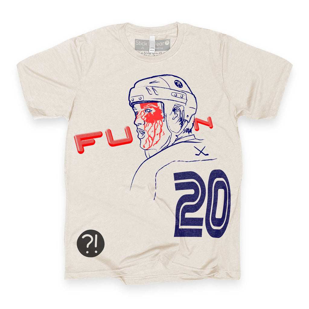 Front of Stick it Wear?! 'FU back into FUN' hockey crew t-shirt in cement.