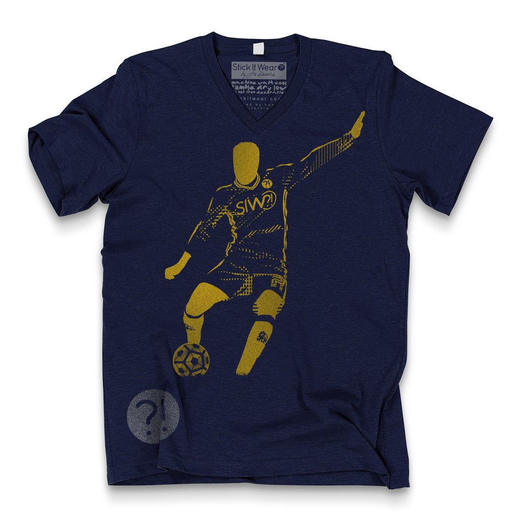 Front of Stick It Wear?! 'GARDEN' Soccer V-Neck t-shirt in navy.