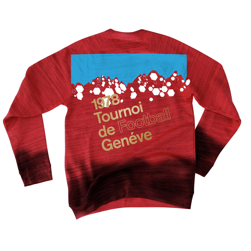 Back of Stick it Wear?! 'GENEVE TOURNOI' Soccer sweatshirt in marble red.