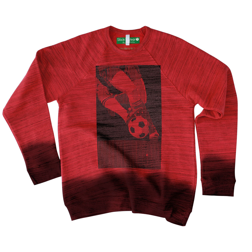 Front of Stick it Wear?! 'GENEVE TOURNOI' Soccer sweatshirt in marble red.
