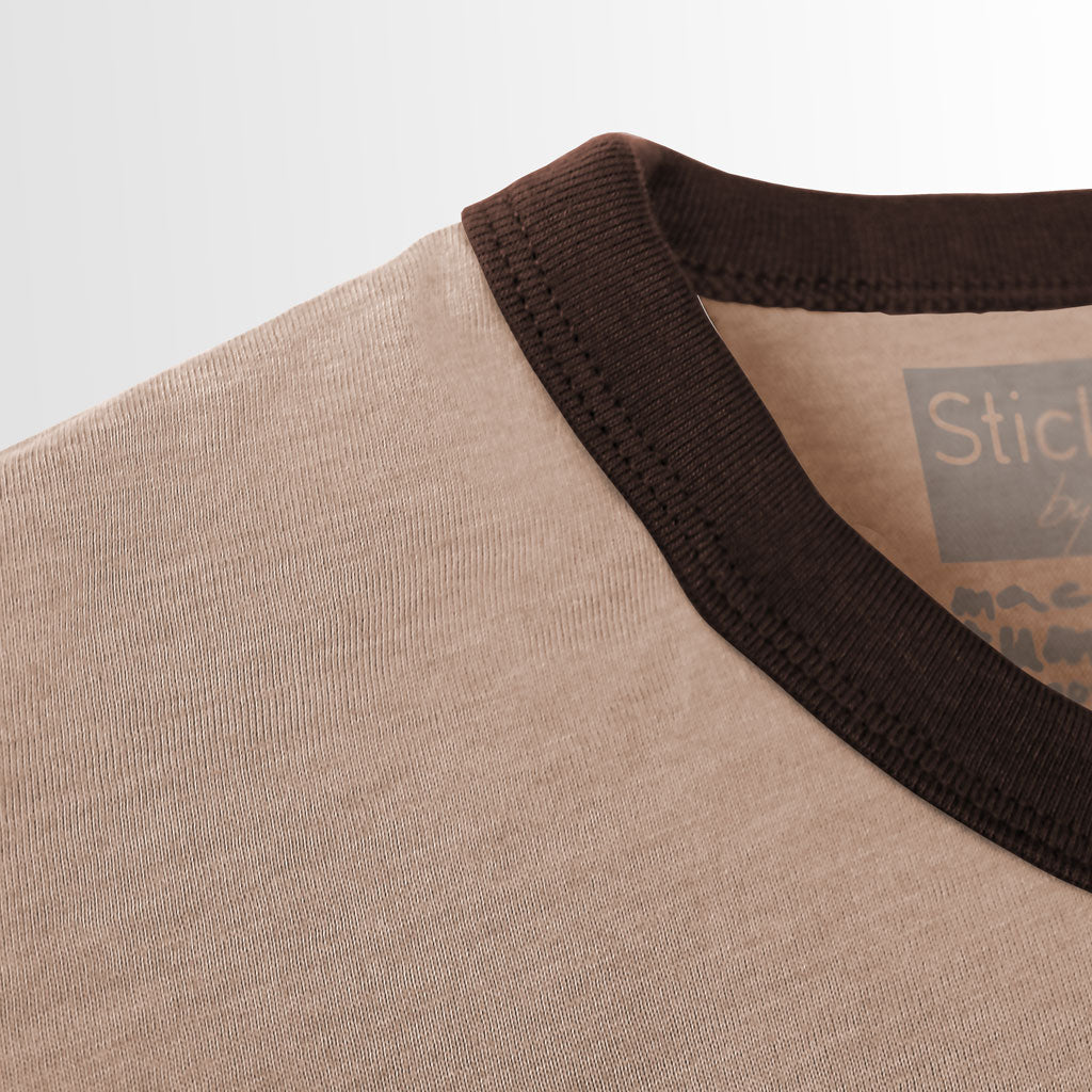 Collar of Stick it Wear?! GERMANY Soccer Vintage Ringer t-shirt in brown.