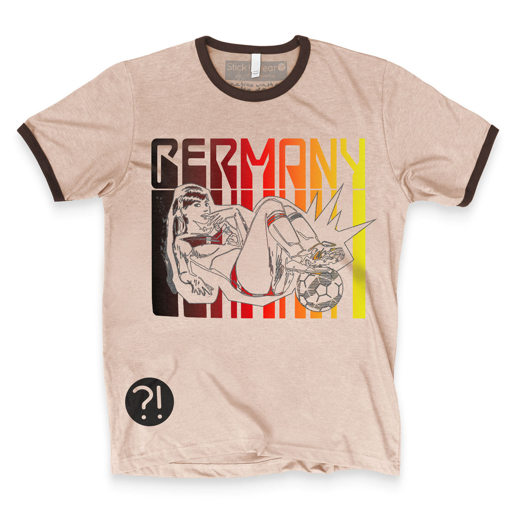 Front of Stick it Wear?! GERMANY Soccer Vintage Ringer t-shirt in brown.