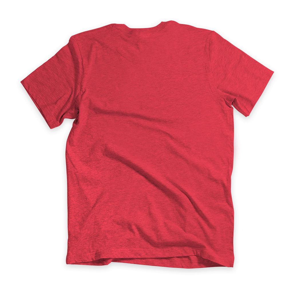 Back of Stick It Wear?! 'GLASSY' Soccer V-Neck t-shirt in red.