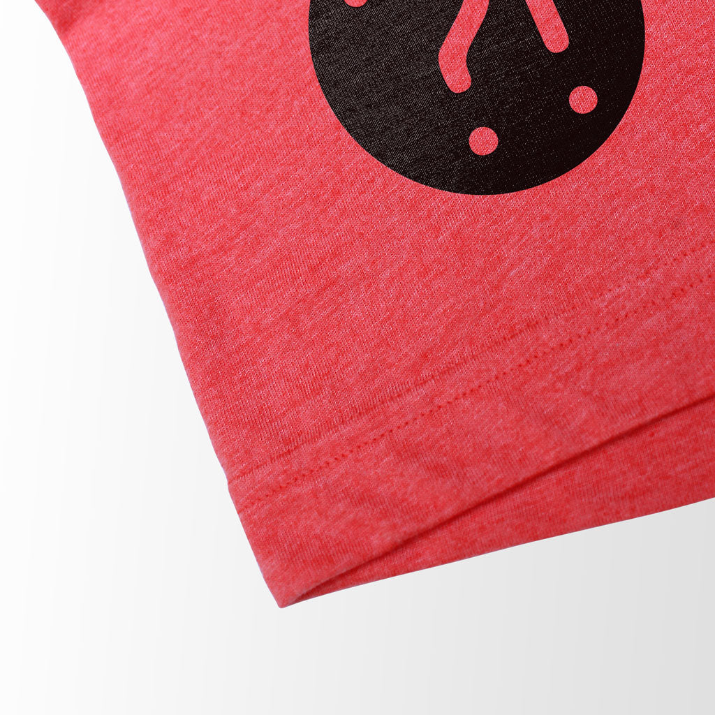 Bottom hem of Stick It Wear?! 'GLASSY' Soccer V-Neck t-shirt in red.