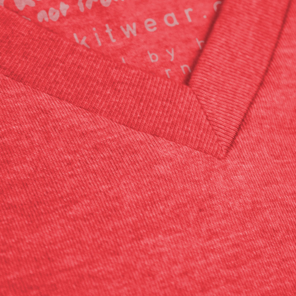 Collar of Stick It Wear?! 'GLASSY' Soccer V-Neck t-shirt in red.