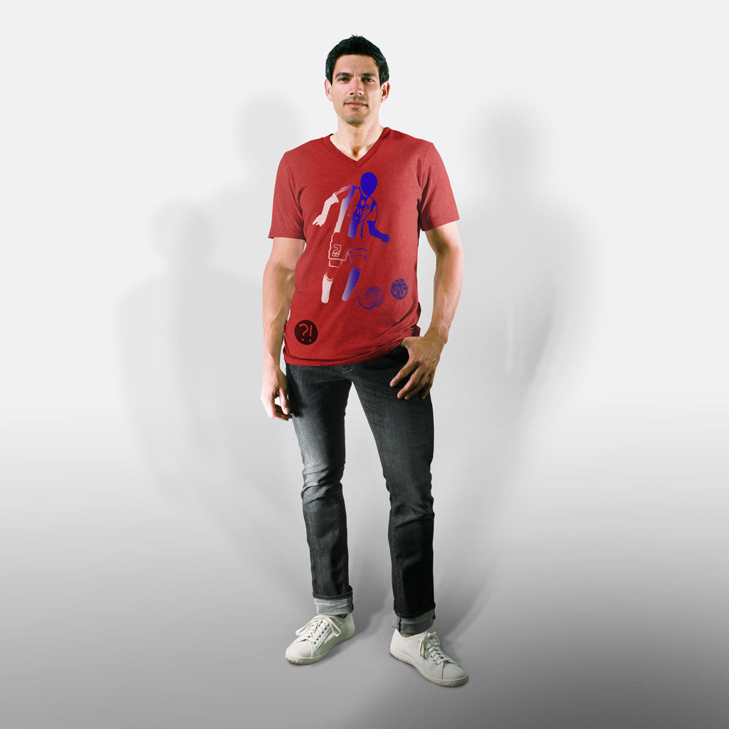 Model wearing Stick It Wear?! 'GLASSY' Soccer V-Neck t-shirt in red.