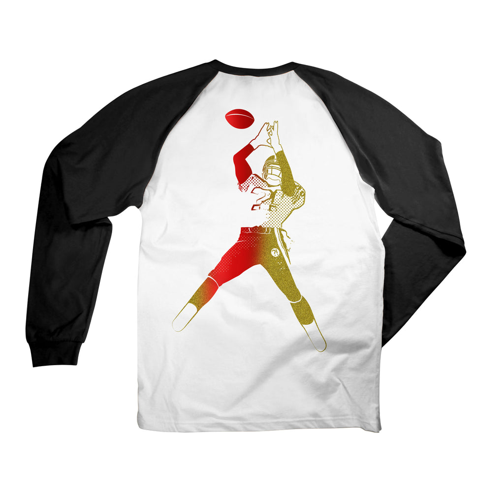 Back of Stick It Wear?! GOLDEN GATEWAY Starting-lineup long shirt in white with black sleeves.