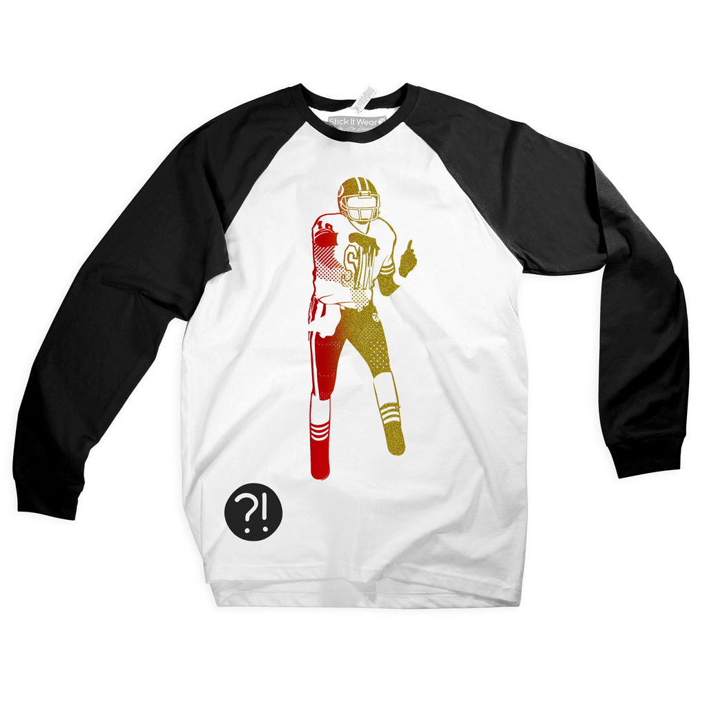 Front of Stick It Wear?! GOLDEN GATEWAY Starting-lineup long shirt in white with black sleeves.