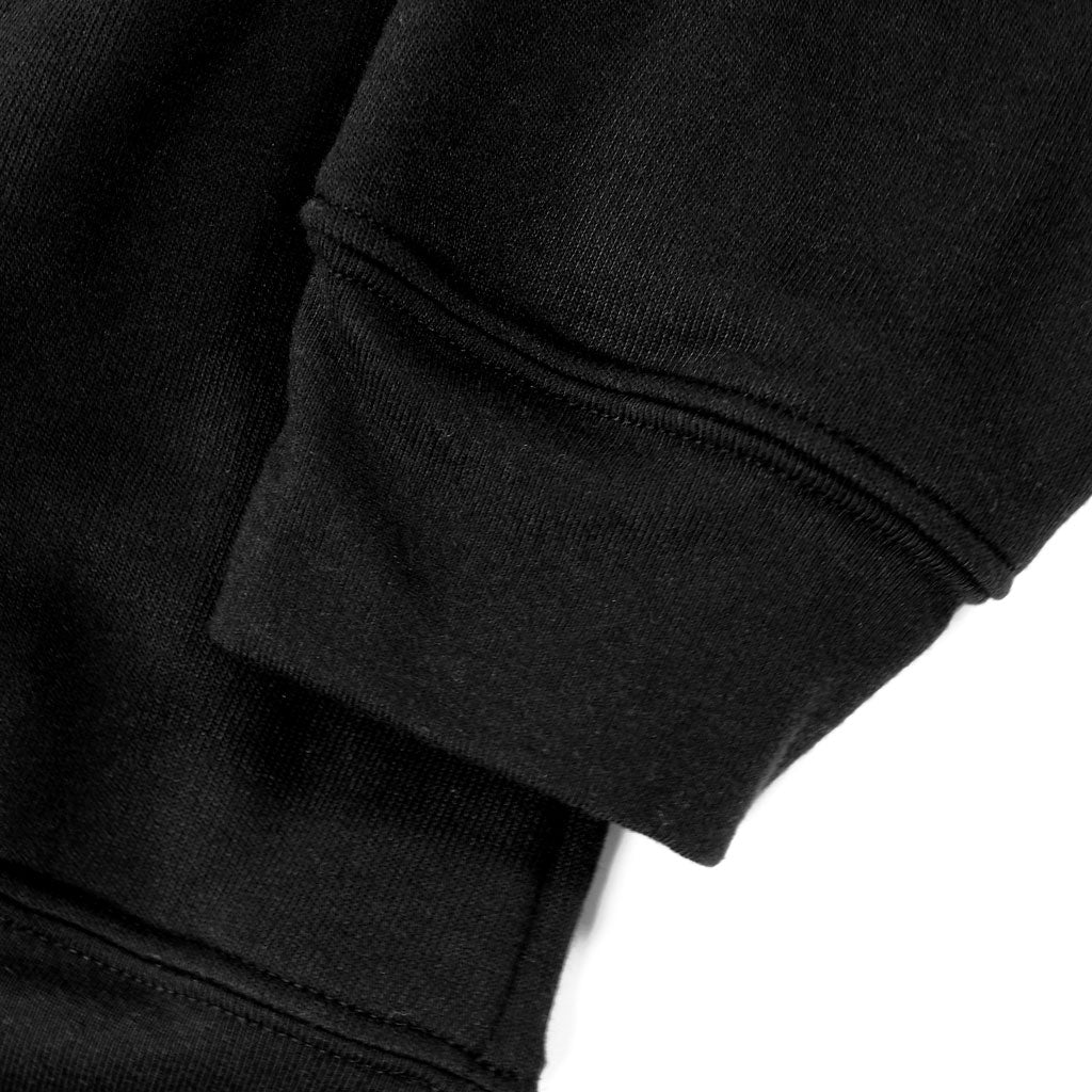 Sleeve of Stick it Wear?! 'GOLDEN YEARS' Basketball Fleece Crew in black.