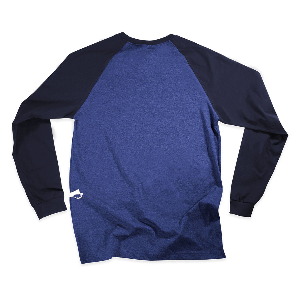 Back of Stick It Wear?! 'MULLET GOD' Starting-line long shirt in blue heather with navy sleeves.