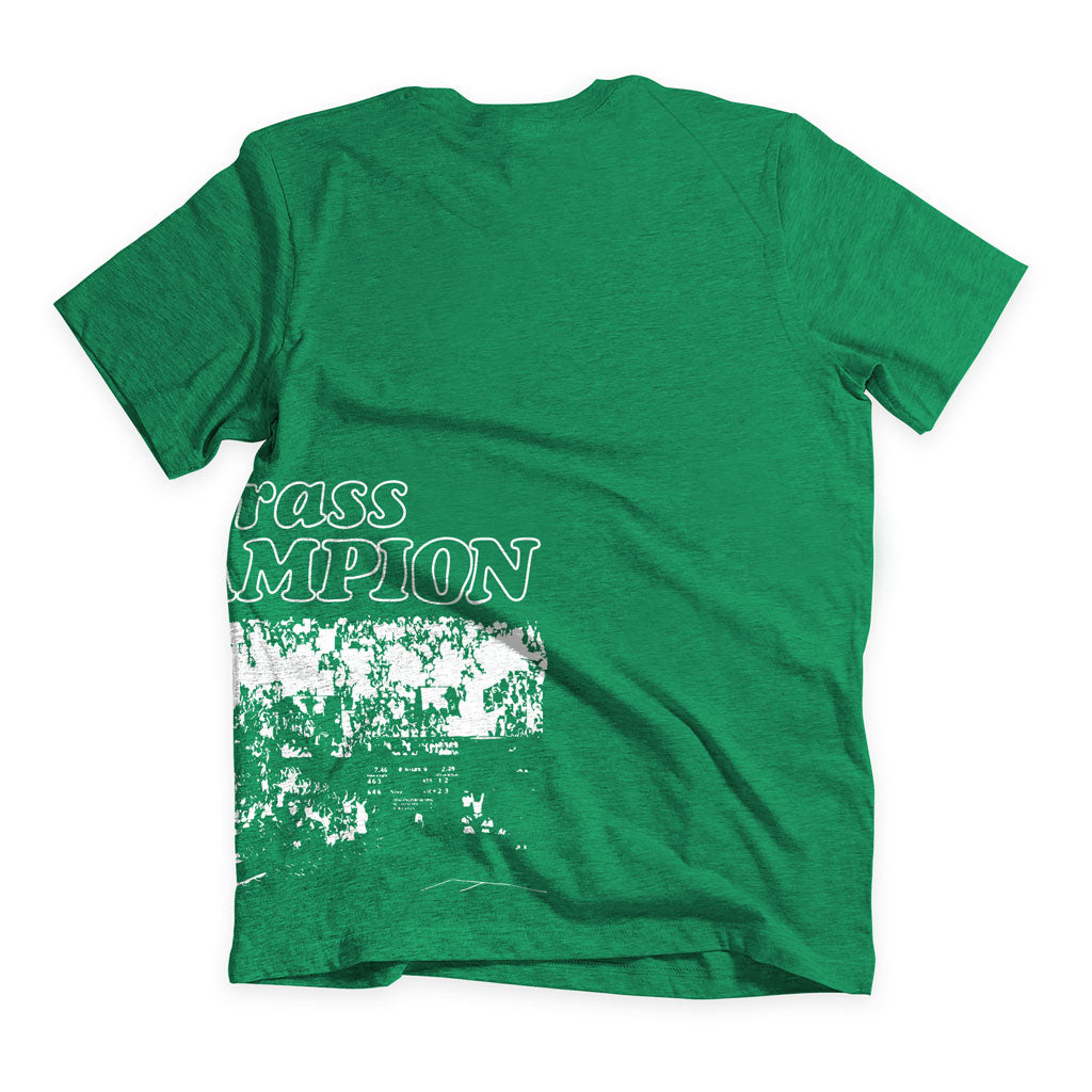 Back of Stick it Wear?! 'GRASS CHAMPION' Men Tennis T-shirt in green.