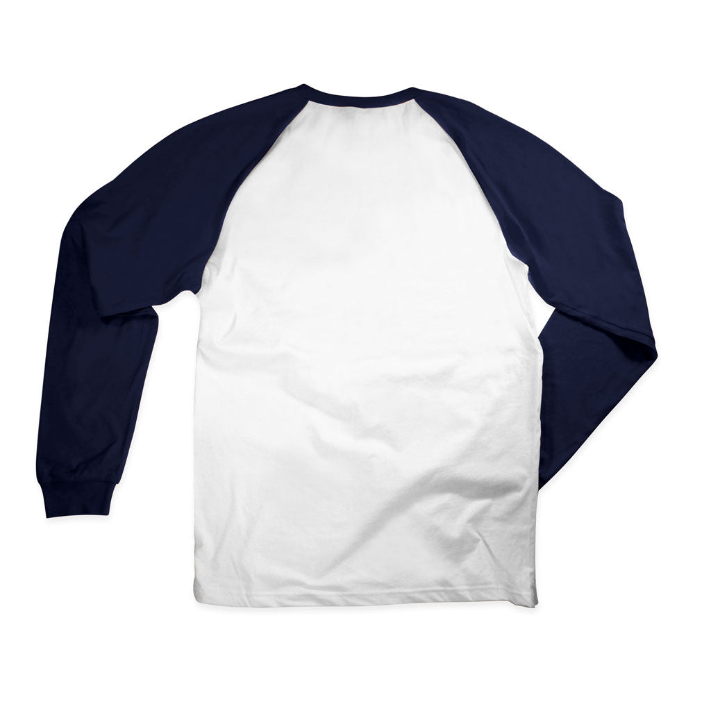 Back of Stick It Wear?! 'GREAT' Starting-line long shirt in white with navy sleeves.