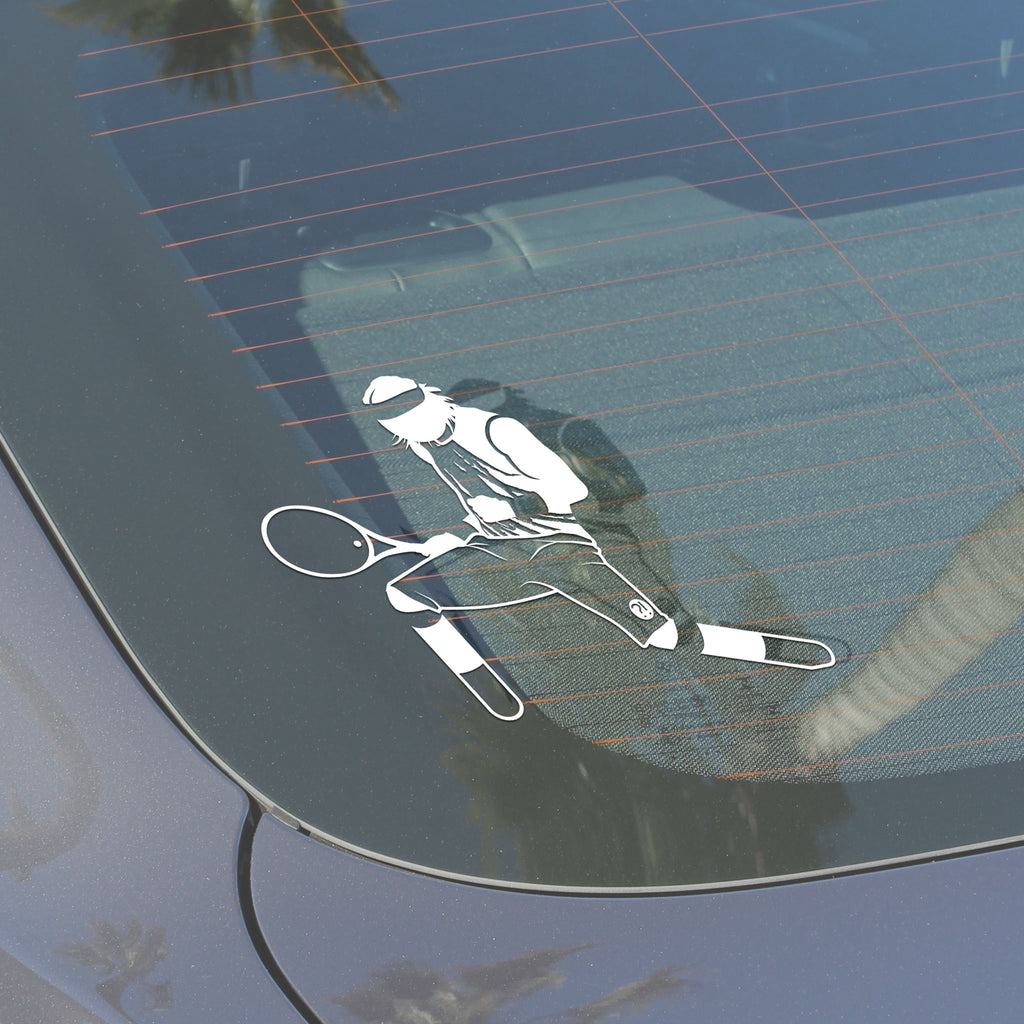 Back windshield displaying Stick It Wear?! vinyl decal of a tennis player crouching in celebration.