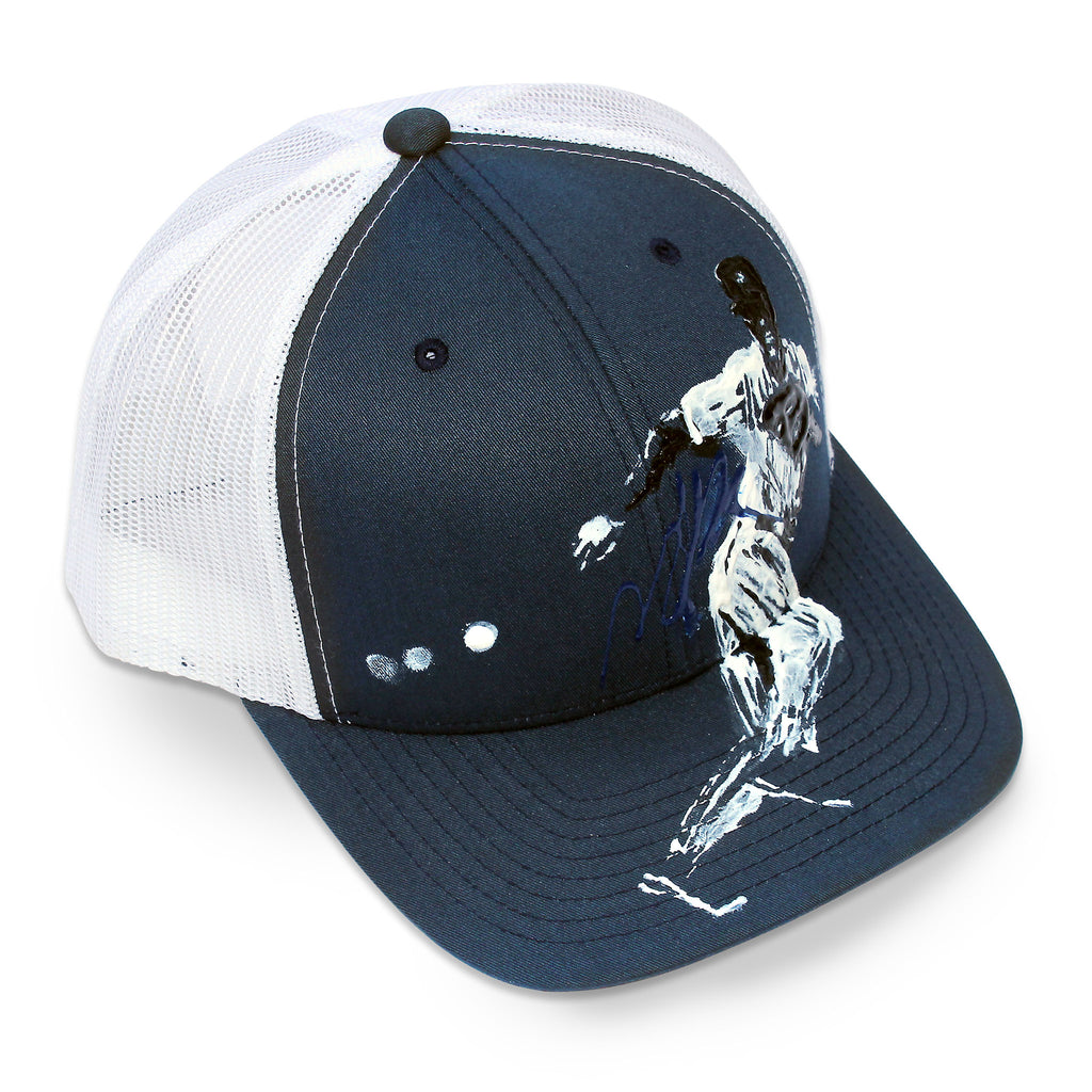Front of 6 panel Stick It Wear?! navy & white baseball cap with brim.