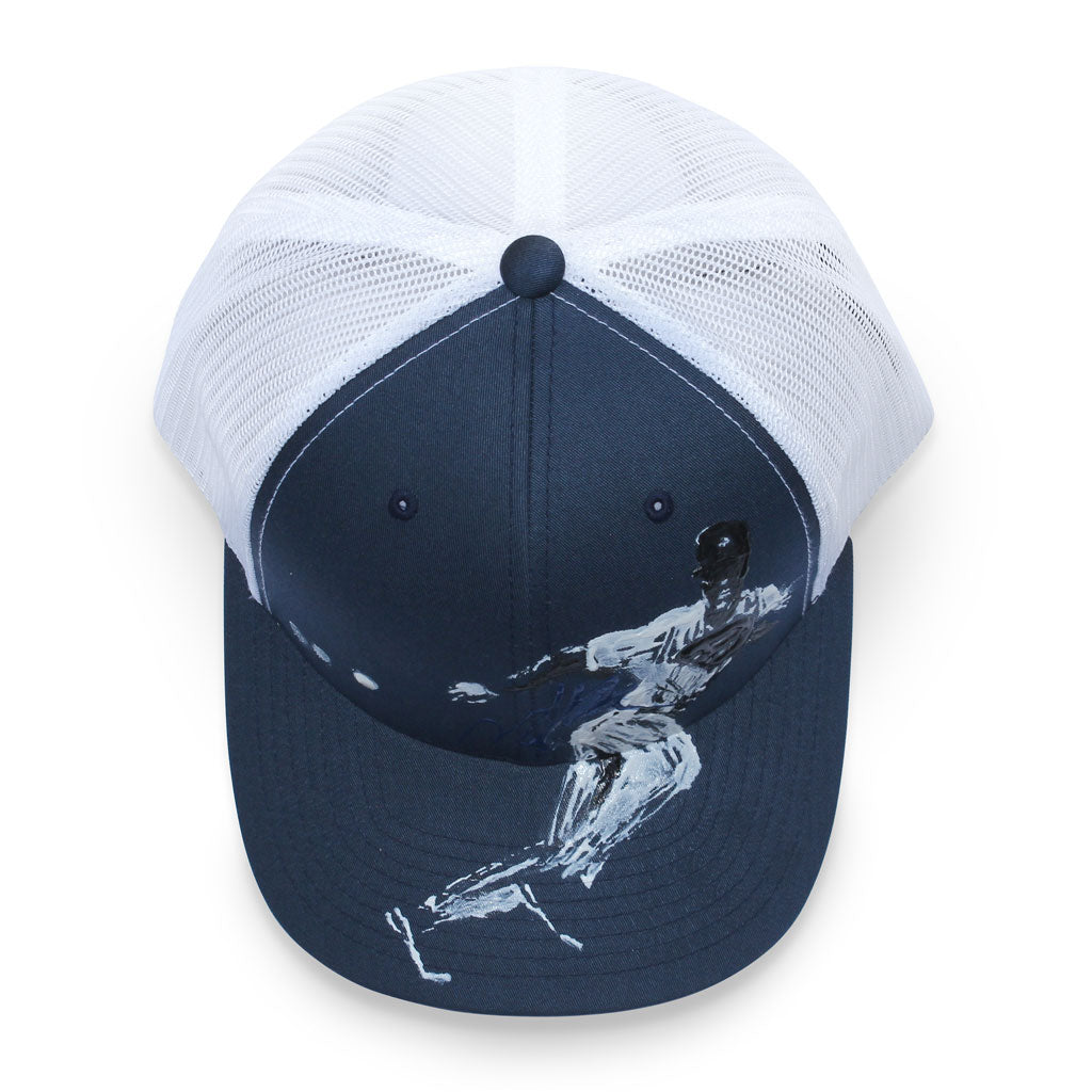 Top of 6 panel Stick It Wear?! navy & white baseball cap with brim.