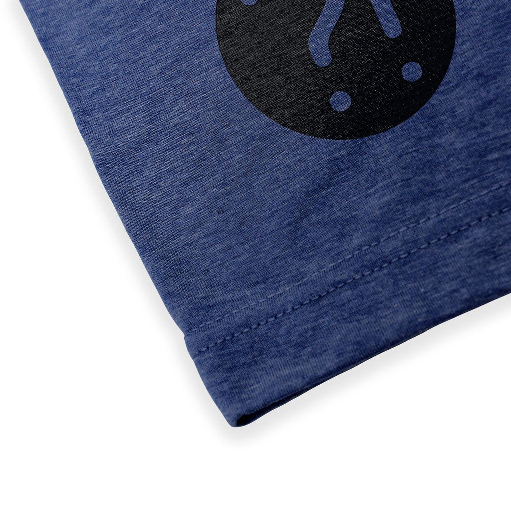 Bottom hem of Stick It Wear?! 'HE WILL DELIVER US' Soccer V-Neck t-shirt in navy.