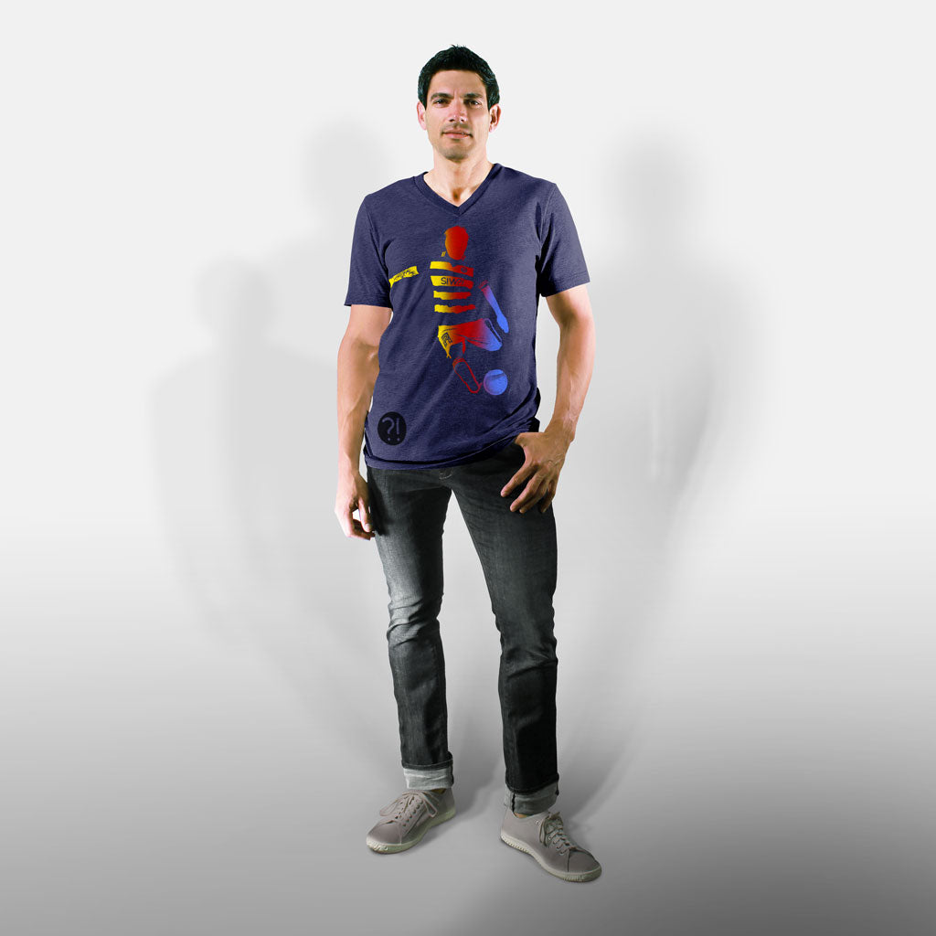 Model wearing Stick It Wear?! 'HE WILL DELIVER US' Soccer V-Neck t-shirt in navy.