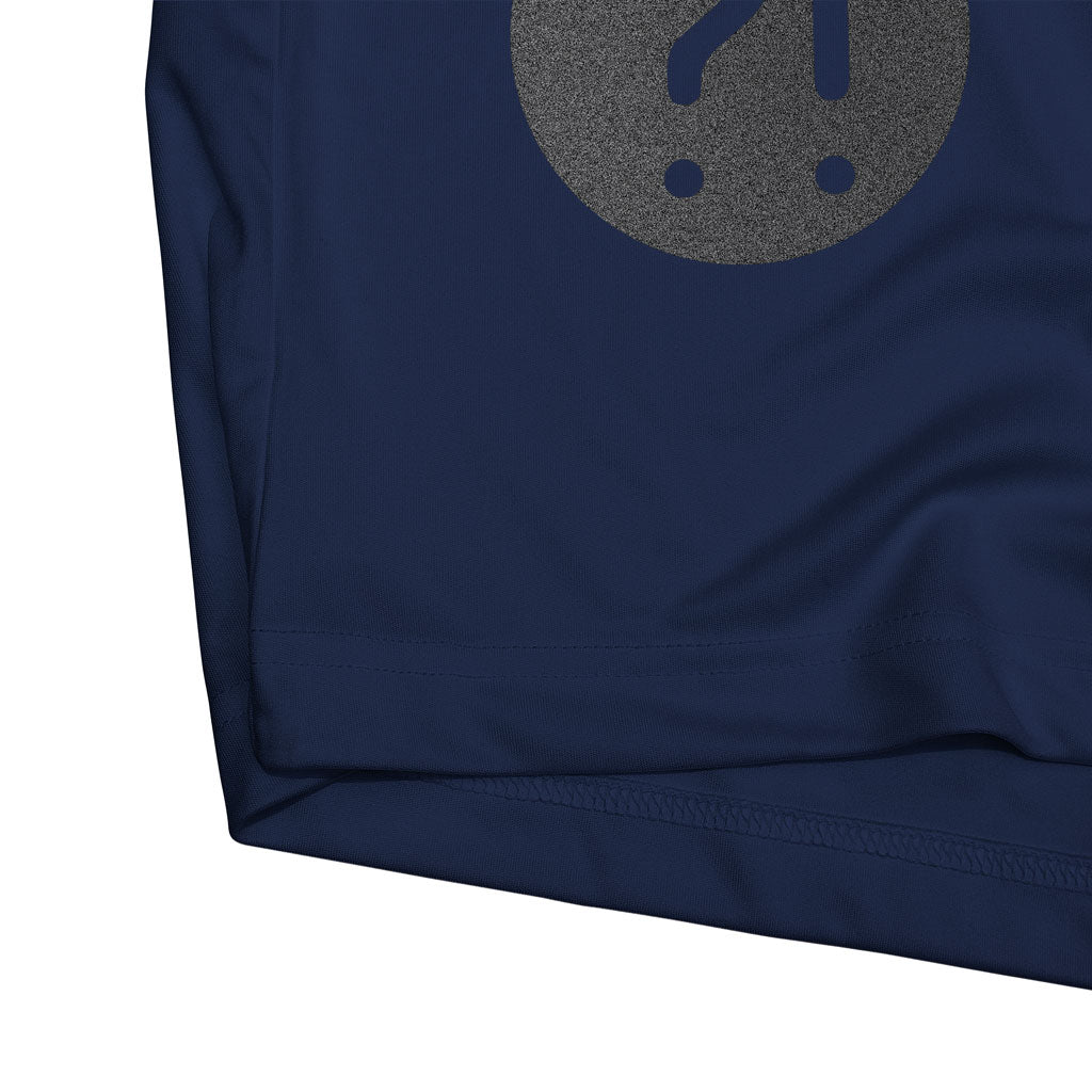 Bottom hem of Stick it Wear?! 'HE WILL DELIVER US' Soccer Performance Crew in navy.