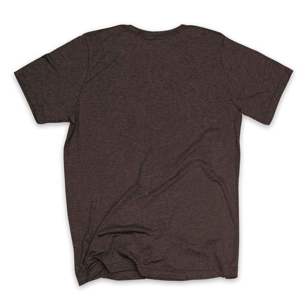 Back of Stick It Wear?! 'HI REZEV' Mens Tennis Tshirt in brown.