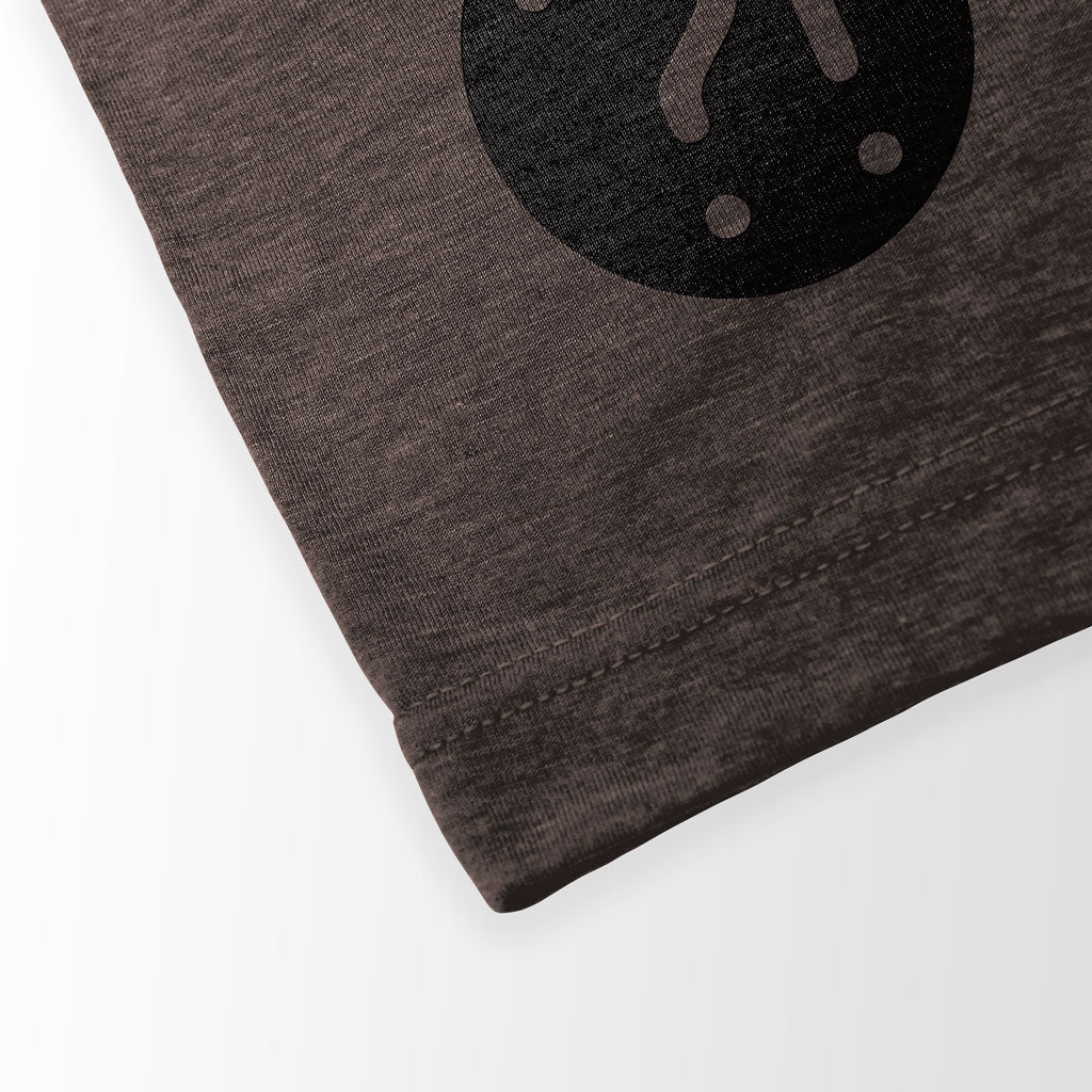 Bottom hem of Stick It Wear?! 'HI REZEV' Mens Tennis Tshirt in brown.