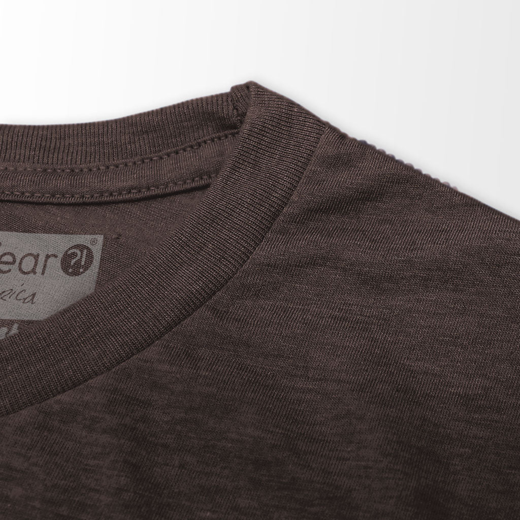Collar of Stick It Wear?! 'HI REZEV' Mens Tennis Tshirt in brown.