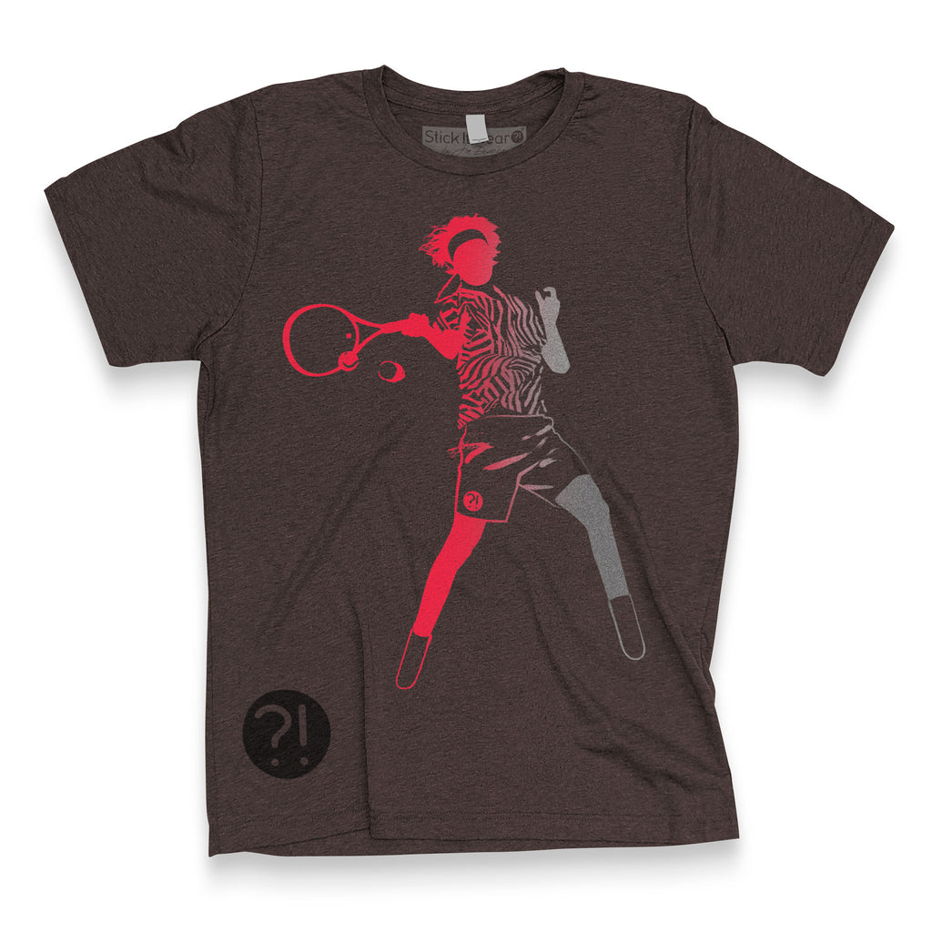 Front of Stick It Wear?! 'HI REZEV' Mens Tennis Tshirt in brown.