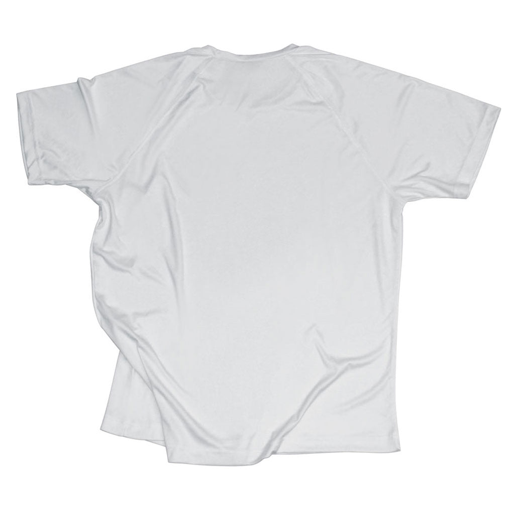Back of Stick It Wear?! 'HI REZEV' Mens Tennis Performance shirt in gray.