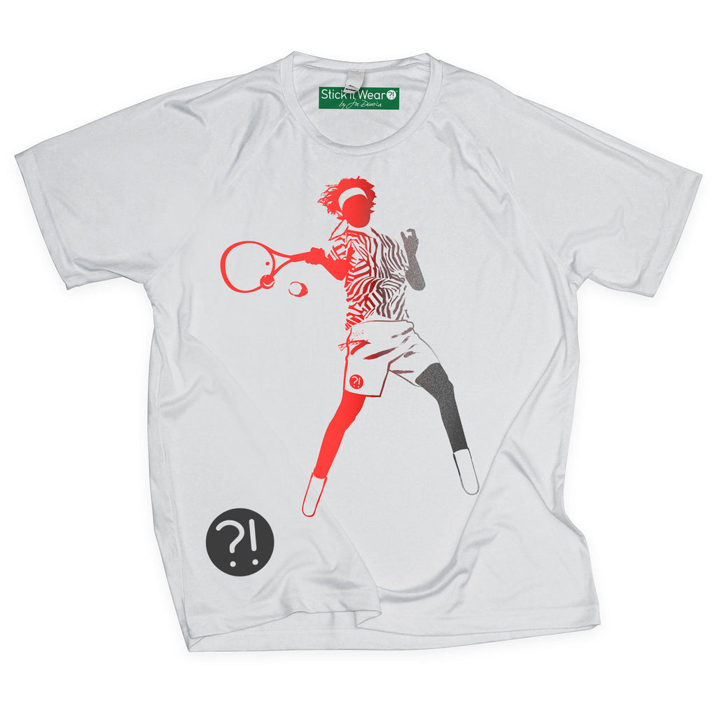 Front of Stick It Wear?! 'HI REZEV' Mens Tennis Performance shirt in gray.