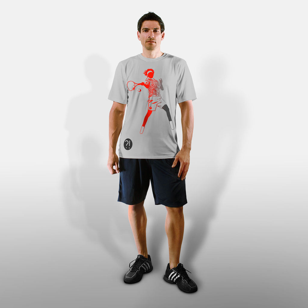 Model wearing Stick It Wear?! 'HI REZEV' Mens Tennis Performance shirt in gray.