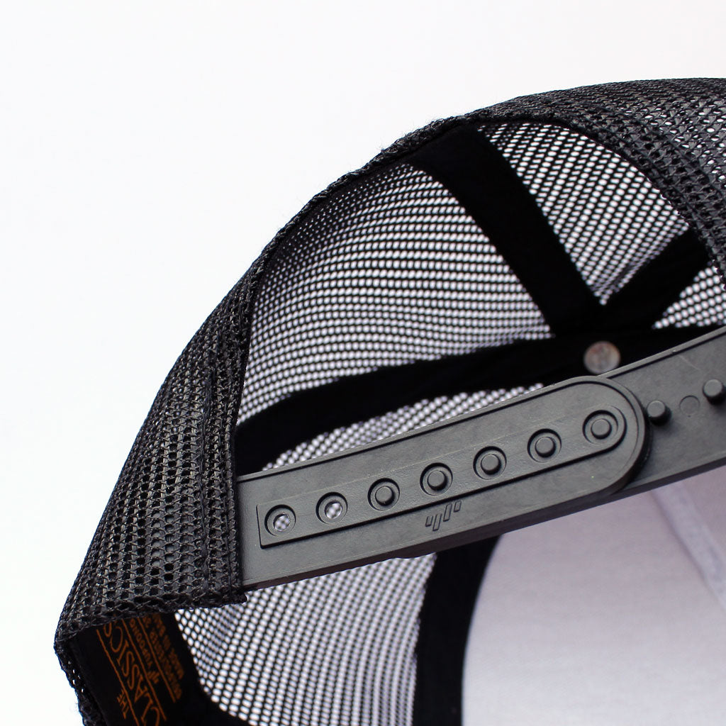 Back of 5 panel Stick It Wear?! gray & black, high crown, snapback hockey cap with brim.