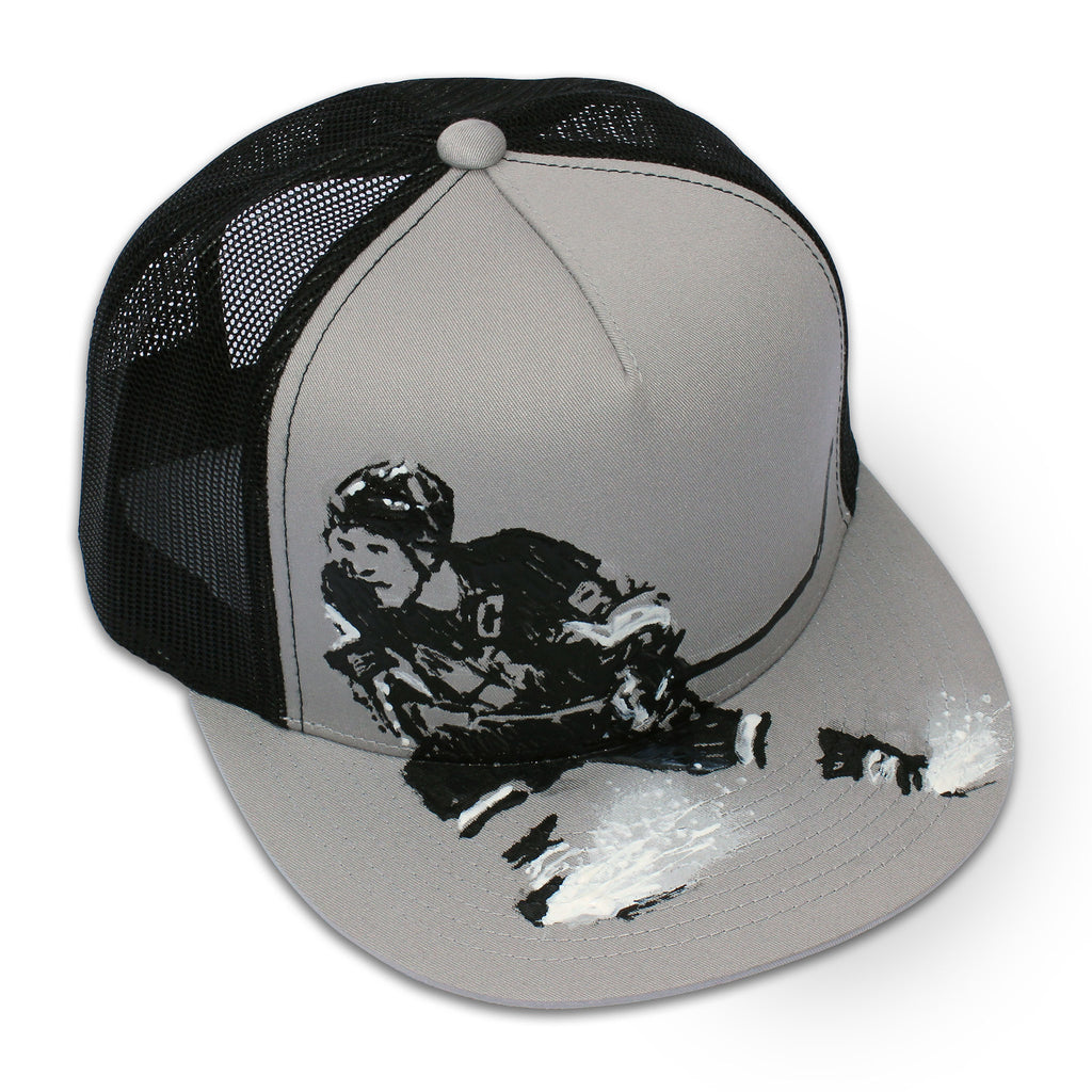 Front of 5 panel Stick It Wear?! gray & black, high crown, snapback hockey cap with brim.