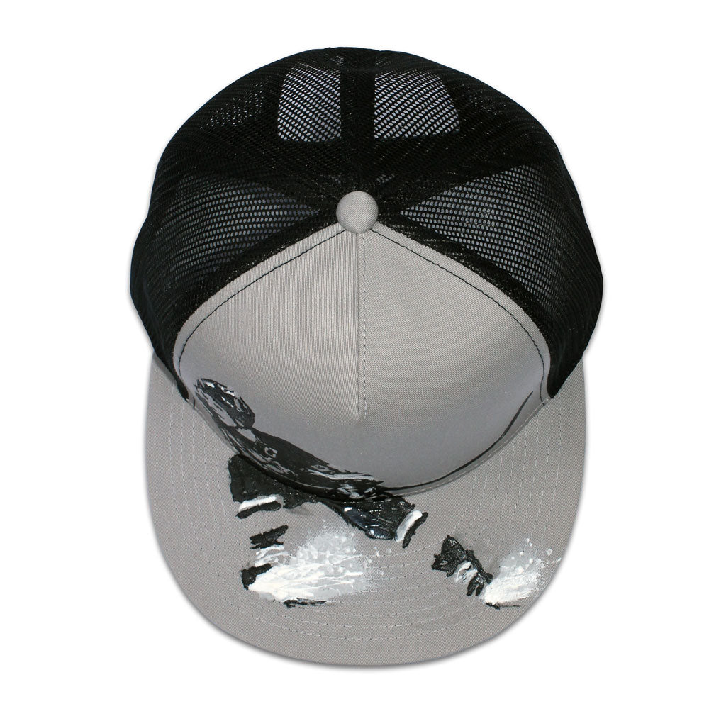 Top of 5 panel Stick It Wear?! gray & black, high crown, snapback hockey cap with brim.