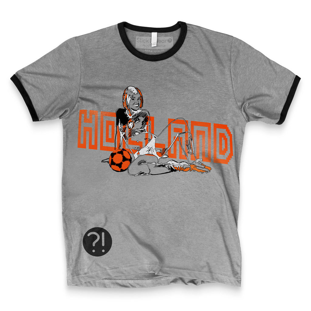 Front of Stick it Wear?! HOLLAND Prideful Soccer Vintage Ringer t-shirt in heather gray.