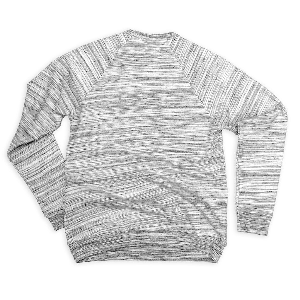 Back of Stick it Wear?! 'ICE FISHING' Hockey sweatshirt in marble gray.
