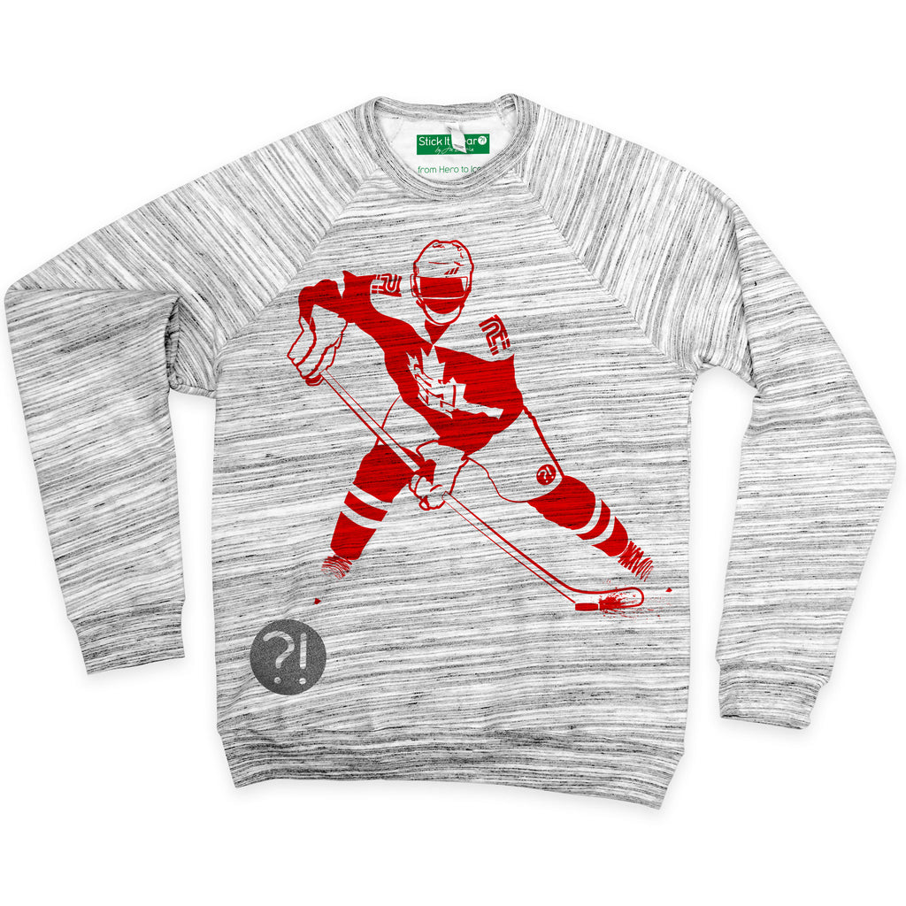 Front of Stick it Wear?! 'ICE FISHING' Hockey sweatshirt in marble gray.