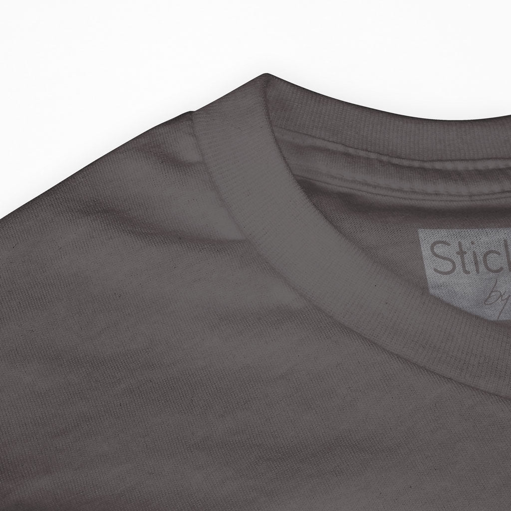 Collar of Stick It Wear?! 'IRON BITE' boxing crew tee in grey.
