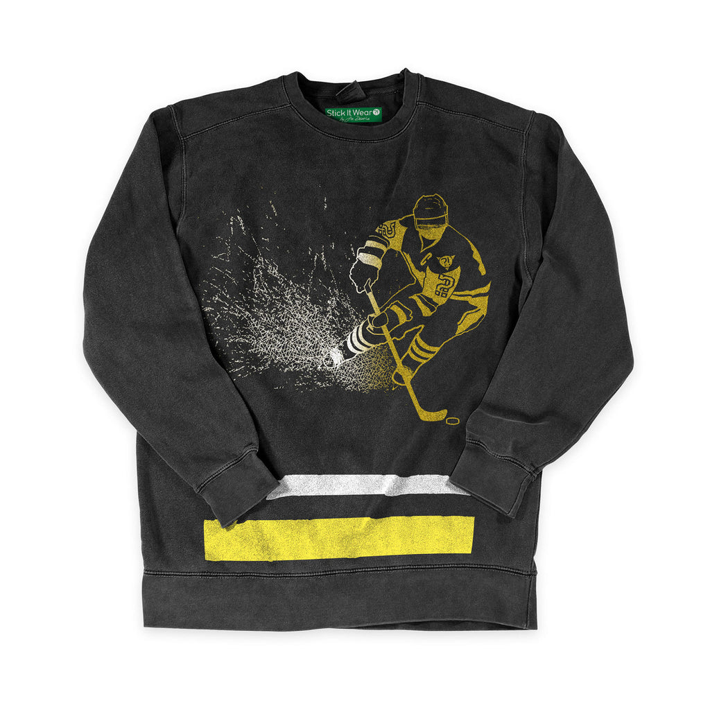Front of Stick it Wear?! 'KIDDER' Hockey Front Office sweatshirt in black.